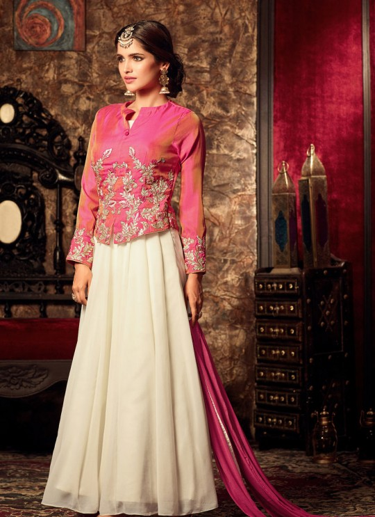 Cream Georgette Anarkali With Jacket Roza 4407 By Maisha