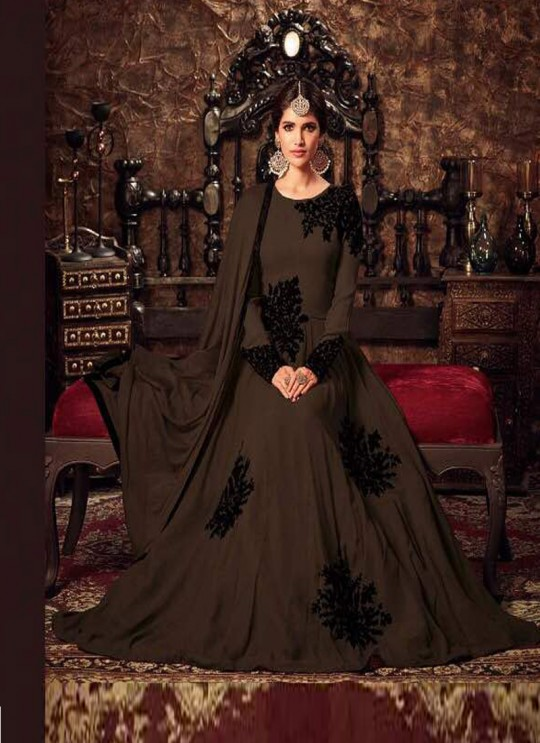 Coffee Georgette Floor Length Anarkali 4405 Series Colours 4405 Coffee Color By Maisha