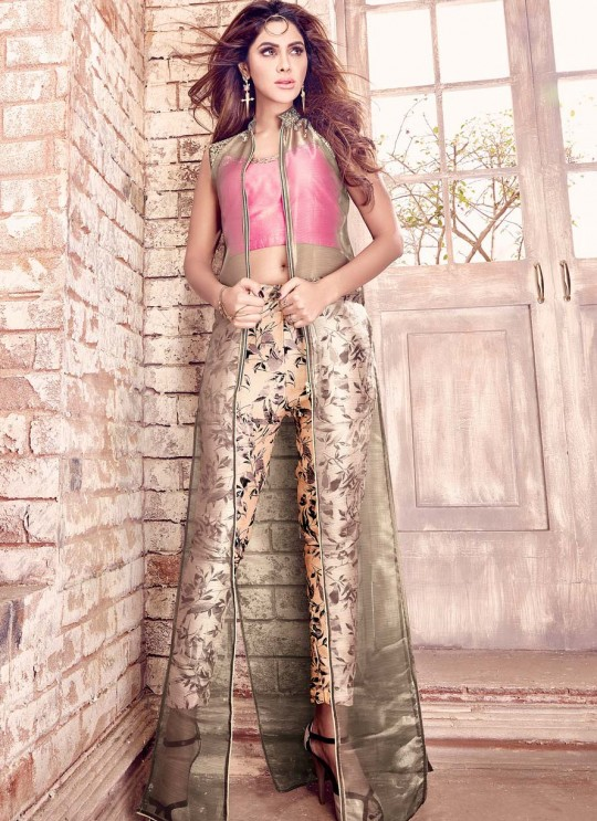 Brown Tissue Silk Pakistani Salwar Kameez 4201 Series 4206 By Maisha
