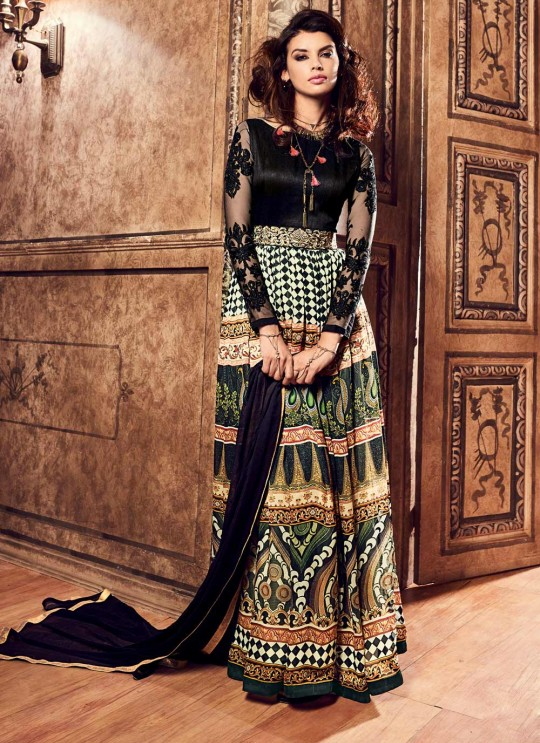 Multicolor Crape Gown Style Anarkali 3700 Series 3703 By Maisha