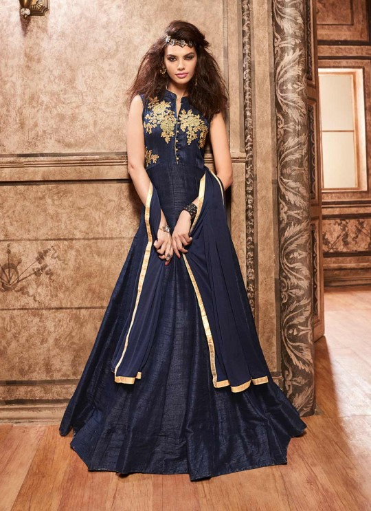 Blue Silk Gown Style Anarkali 3700 Series 3706 By Maisha